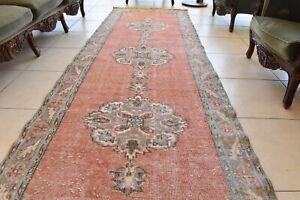 Traditional Handmade Runner Rug 3.2x10.9 ft Traditional Vintage Oushak Kilim C03