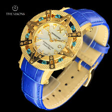 Xoskeleton 41mm Superlative Star LE Blue Paraiba Topaz MOP Leather Strap Watch