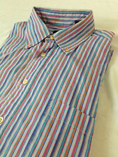 Burberry London Button Down Shirt Slate Gray w/Colored Stripes Size M