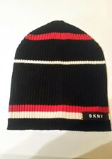DKNY Womans Knit Black/Red/Cream Striped Warm Weather Hat. NEW!