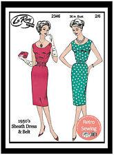 1950s Wiggle Dress Sewing Pattern - Rockabilly - Pin up