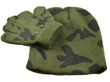 Boys Hat and Gloves Set Baby Toddler Kids Beanie Khaki Camouflage Navy 1-4 Years