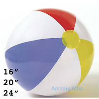 """Inflatable Blowup Panel Beach Ball 16"""" 20"""" 24"""" Holiday Party Swimming Garden Toy"""