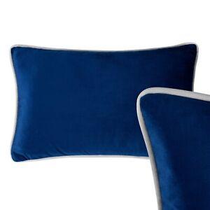 Velvet Oblong Cushion Navy Blue Grey Piping Rectangle Lumbar Case Sofa Cover