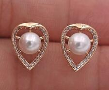 18K Yellow Gold Filled Earrings Gemstone Topaz Heart & Pearl Ear Studs Porm Lady
