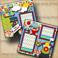 CHOO CHOO TRAIN boy 2 premade scrapbook pages paper piecing 4 ALBUM ~ DIGISCRAP