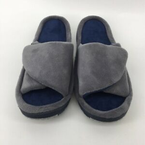 Isotoner Womens Slide Slippers Gray Adjustable Comfort Cushioned Scuffs 9.5-10.5