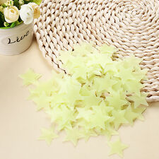 100pcs Yellow Stars Glow In The Dark Luminous Fluorescent Plastic Wall Stickers