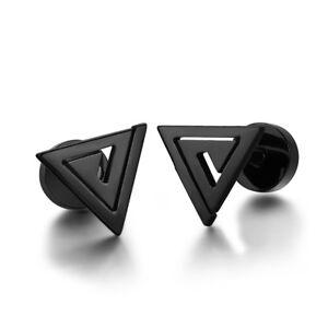 TT Black Surgical Steel Triangle Fake Ear Plug Earrings (BE250D) NEW