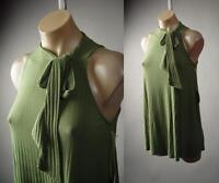 Olive Green Ribbed Knit Ribbon Tie Mock High Neck A-Line Top 233 mv Shirt S M L