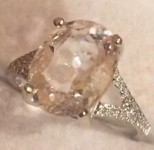 3.68CT NATURAL MORGANITE AND  NATURAL DIAMONDS RING IN 14K WHITE GOLD