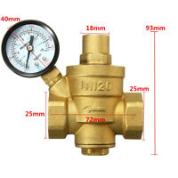 3/4'' DN20 Adjustable Bspp Brass Water Pressure Reducing Valve W/ Gauge Flow