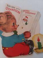 1950s Vtg GRANDSON Anthro Bear w Rotating Wheel Book CHRISTMAS GREETING CARD