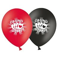 """Cards & Chips  - Casino 12""""  Black & Red Asst Printed Latex Balloons pack of 12"""