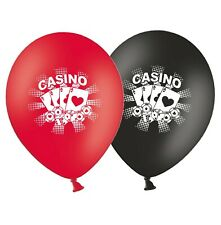 """Cards & Chips  - Casino 12""""  Black & Red Asst Printed Latex Balloons pack of 6"""