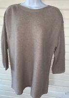 Chicos Textured Boat-Neck Pullover Sweater Sz 1 (MEDIUM) Khaki 3/4 Sleeve EUC