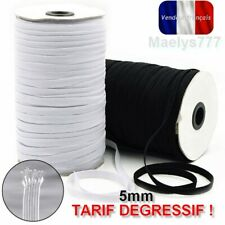 Elastique blanc ou noir 5mm plat masque blouse tissus couture 5/10/20/50/160m.