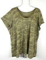 New Women's 2X Army Green Camo Camouflage T-shirt Top Pullover Blouse NWT