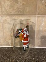 Santa Drinking Glass With Christmas Tree And Santa With Reindeers Santa