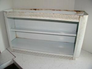 Vintage chic 50's white metal wall shelf shabby nursery bath bathroom vanity
