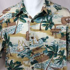 Reyn Spooner Joe Kealoha Hawaiian Aloha Shirt Size L Large Palm Trees Tiki Bar