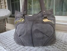 B Makowsky Large Suede Hobo Tote Handbag Satchel Metallic Textured Gray Silver