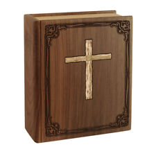 Wood Adult Cremation Urns - Walnut Book with Cross Urn