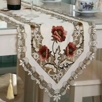 Embroidery Floral Table Runner Tablecloth Furniture Cover Baroque Home Adornment