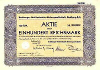 Bedburg er Wollindustrie Aktie 1937 Wollspinnerei Rhein-Erft Kreis Niederrhein