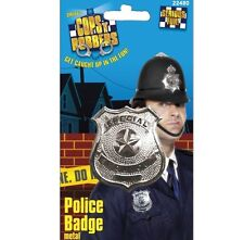 Police Badge Fancy Dress Metal Cop Detective Prop Accessory New by Smiffys