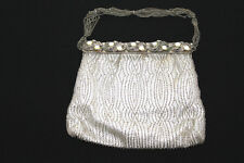 """VINTAGE 1940'S-1950'S SILVER LAME HAND BEADED PURSE 6 1/2"""" X 5 1/2"""""""