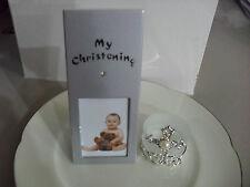 Christening Baptism Silver Photo Frame Bombonier Favour Table Place Card Holder