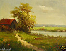 "Oil Painting On Canvas 12""x 16"" ~  House By the Pond"