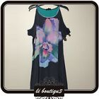 WAYNE BY WAYNE COOPER Black Floral Print Summer Shift Dress Size 8 (C 14)