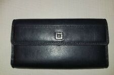 LODIS Black Leather Trifold Multi Slot Wallet Tan Interior