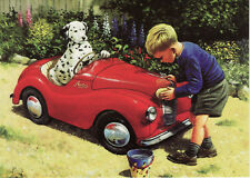 Austin A40 childrens pedal car car wash and Dalmatian dog cute motor art card