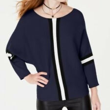 NWT Say What? Juniors Medium Navy Blue Black Combo Ribbed Stripe Sweater New