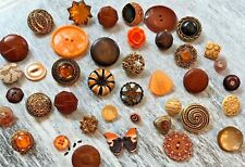Orange Vintage-Now Fabric Leather Lucite Gold Brass Rhinestone Lace Buttons