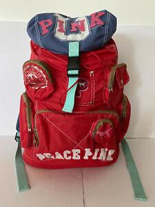 """PINK Victoria Secret Vintage """"PEACE PINK"""" 2007 University Red Backpak Pockets"""