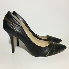 Enzo Angiolini Eapopculture Pumps Leather Women 10 Black Zipper Detail