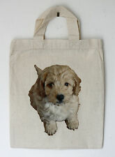Small Cotton Bag Cockapoo Motif Party or Gift Bags Re-usable Size 21cm by 26cm