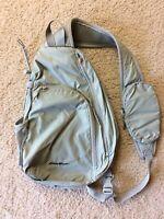 Eddie Bauer Gray Sling Backpack Crossbody Day Pack Travel Bag Purse Zips Nylon