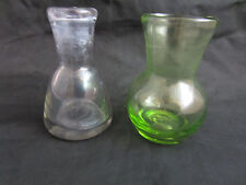 vintage 2 blown glass small vases purple green thick wall glass 3.5""