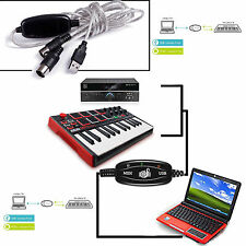 Top Music Keyboard Piano MIDI Cable Adapter PC Converter USB In-Out Interface