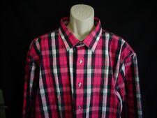 NWT Apt. 9 Pink Black plaid slim fit long sleeve shirt men's 20 x 36/37 Tall
