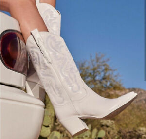 Jeffrey Campbell Dagget White Western Boots Leather Size 9 SOLD OUT