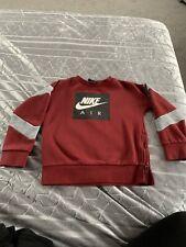 Boys NIKE Age 6-8 Sweatshirt Jumper Grey/Burgandy