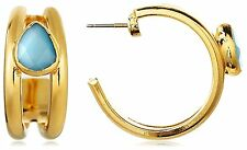 Janna Conner 18K Gold Plated Turquoise Quartz Hoop Friction Stud Earrings NWT