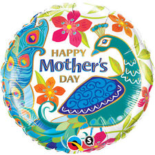 """MOTHER'S DAY PARTY SUPPLIES 18"""" BEAUTIFUL PEACOCK QUALATEX ROUND FOIL BALLOON"""