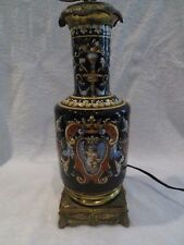 Belle lampe faience Gien renaissance noir (gien lamp) hauteur 49,5cm